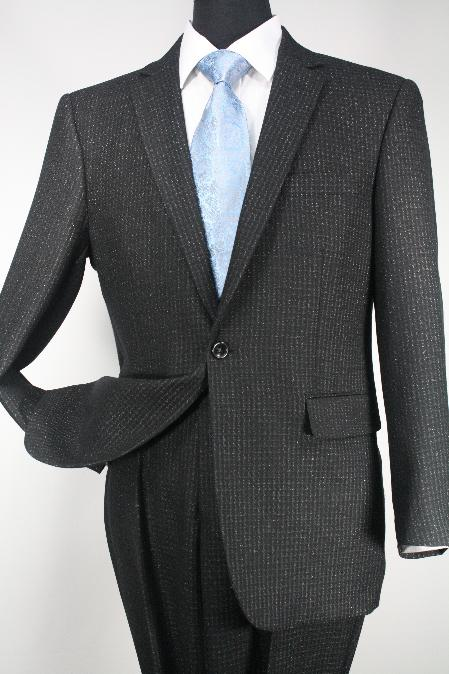 SKU#Ts24 1 Button Mens Executive 100% Wool Suit Black Cheaker  Collection $195