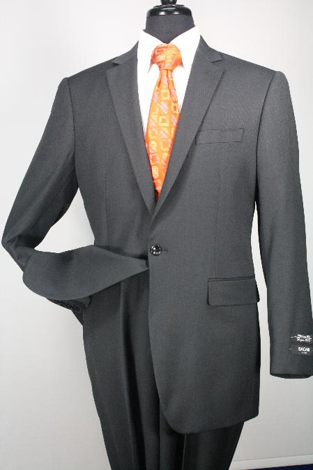 SKU#Ts24 1 Button Mens Executive 100% Wool Suit Charcoal Collection