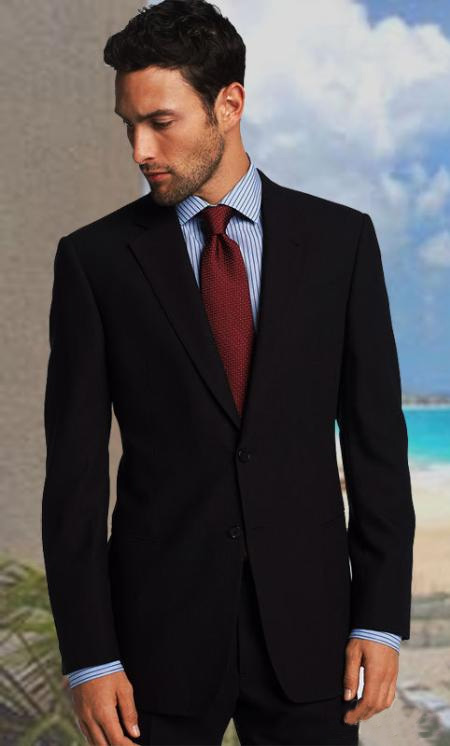 SKU#KA1173 2 BUTTON SOLID COLOR BLACK MENS SUIT CENTER VENT BACK JACKET STYLE WITH 1 PLEATED PANTS $225