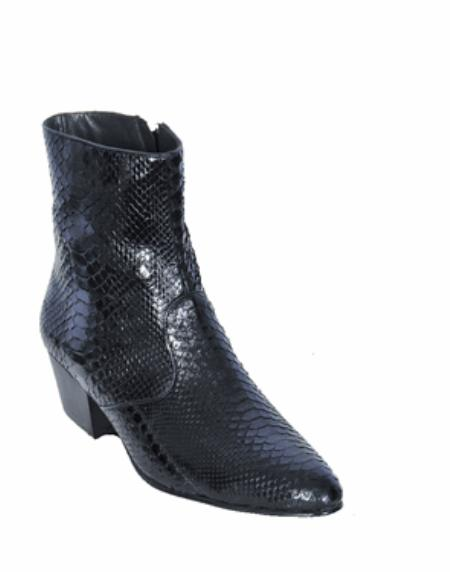 SKU#KA11205 Los Altos Black Python ~ Snake European Style Dress Boot