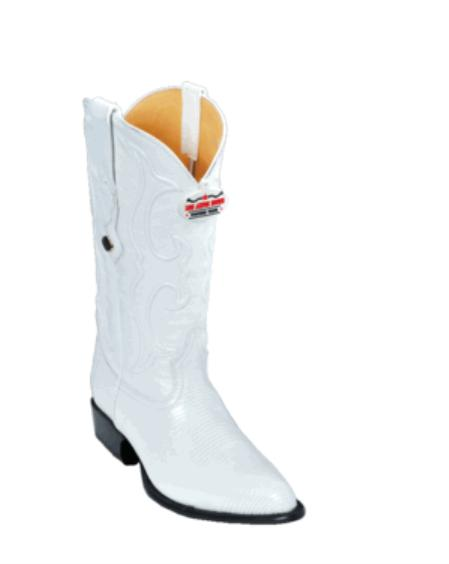 SKU#KA1120 Los Altos White Ring Lizard J-Toe Cowboy Boots $227