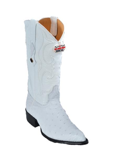 SKU#KA1122 Los Altos White Ostrich J-Toe Cowboy Boots $467