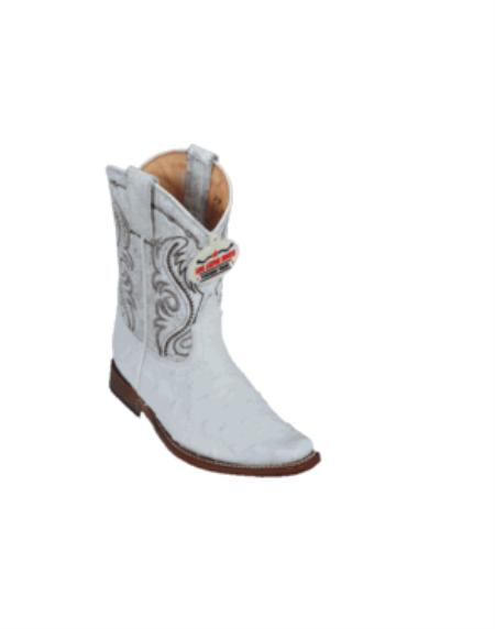 SKU#KA1123 Los Altos White Ostrich Kids Boots $247