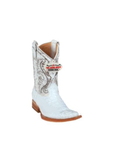 SKU#KA1125 Los Altos White caiman ~ alligator Hornback XXX-Toe Kids Boots $247