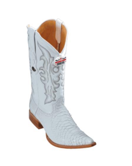 SKU#KA1127 Los Altos White Python Cowboy Boots $267