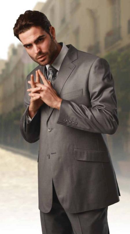 3 Piece 2 Button Suit Wide Leg Pant Wool Grey Mens Loose Fit Trousers Suit Jacket
