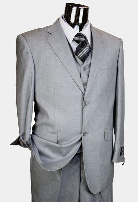 MensUSA.com Mens Light Grey 3 Piece 2 Button single pleated pants Suit(Exchange only policy) at Sears.com