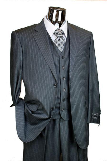 MensUSA.com Mens Charcoal Pinstripe 3 Piece 2 Button single pleated pants Suit(Exchange only policy) at Sears.com