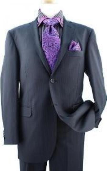 SKU#KA1138 Pleated Pant Black With Violet Stripe ~ Pinstripe Super 120s Wool Suit $199