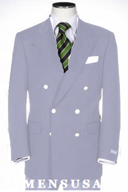 SKU#KA1141 Light Gray Double Breasted Blazer With Best Cut & Fabric Sport jacket $199