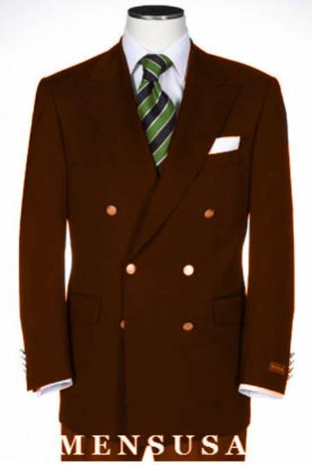 SKU#KA1142 Double Breasted Blazer With Best Cut & Fabric Sport Brown jacket $199