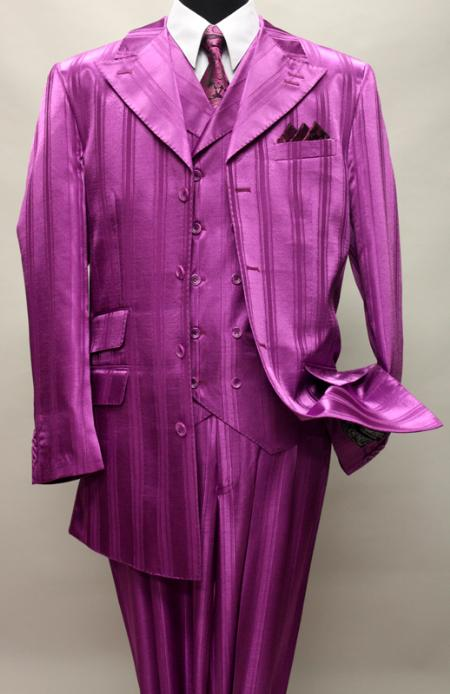 SKU#KA1144 HARVEY-37 FUSCHIA SHADOW TON ON TON PEAK LAPEL FASHION SUIT 3PC WITH VEST & WIDE LEG PANTS $159