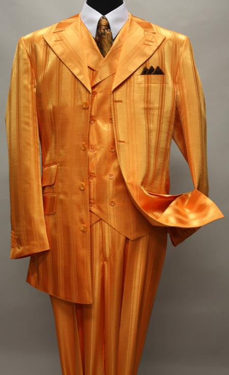 SKU#KA1145 ORANGE SHADOW TON ON TON PEAK LAPEL FASHION SUIT 3PC WITH VEST & WIDE LEG PANTS $159