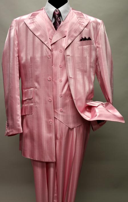 SKU#KA1146 HARVEY-37 PINK SHADOW TON ON TON PEAK LAPEL FASHION SUIT 3PC WITH VEST & WIDE LEG PANTS $159