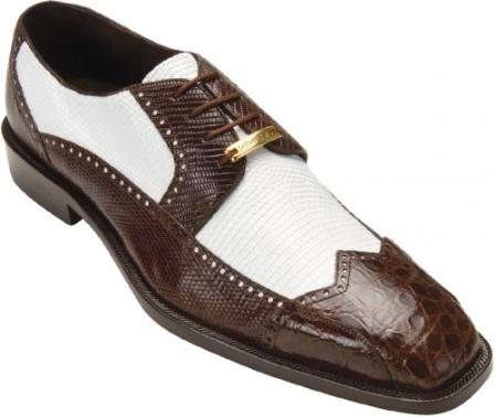 "SKU#KA Belvedere ""Alex"" Brown / White Genuine Crocodile And Lizard Wing-Tip Shoes $285"