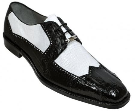 "SKU#KA1152 Belvedere ""Alex"" Black / White Genuine Crocodile And Lizard Wing-Tip Shoes $285"