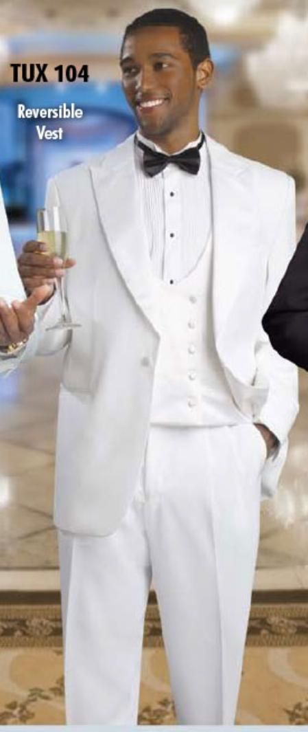 SKU#KA Mens 2 Button Tuxedo White Suit $199