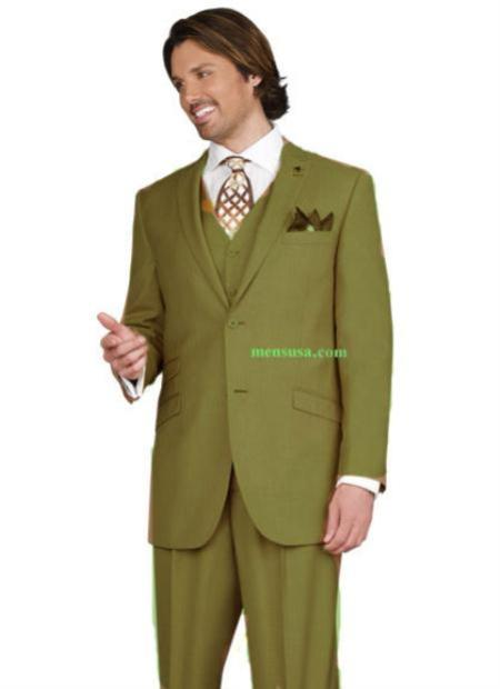 SKU#KA1159 Mens 2 button Peak Lapel Ticket pocket Olive Green Color three piece suit $199