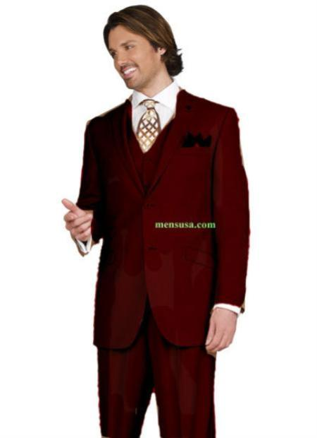 SKU#KA14502 Mens 2 button Peak Lapel Ticket pocket Brown Color three piece suit $165
