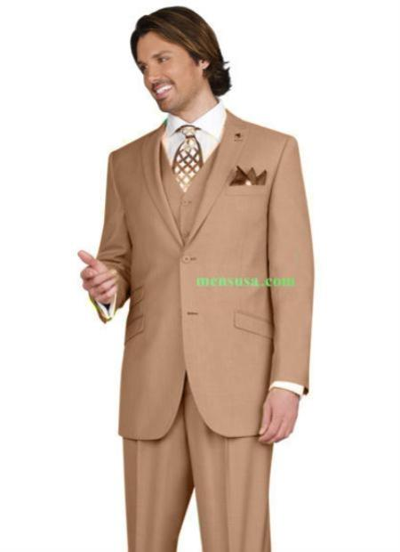 SKU#KA14504 Mens 2 button Peak Lapel Ticket pocket Taupe Color three piece suit $165