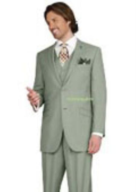 SKU#KA1430 Mens 2 button Peak Lapel Ticket pocket greenish color with some hint of sage color three piece suit