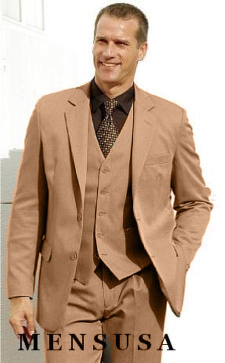 SKU#KA1163 High Quality bronze~Camel~British Kahki 2 Button Vested 100% Wool Feel Poly Rayon three piece suit Notch lapel Vented $169