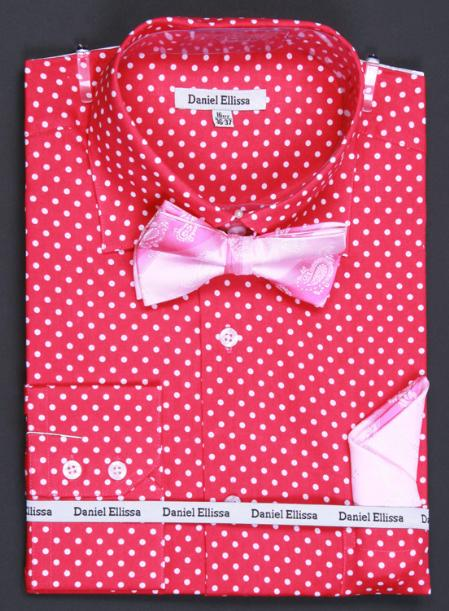 MensUSA.com 100 Cotton Double Button Cuff Dress Shirt Bow Tie and Hanky Polka Dot Fuchsia(Exchange only policy) at Sears.com