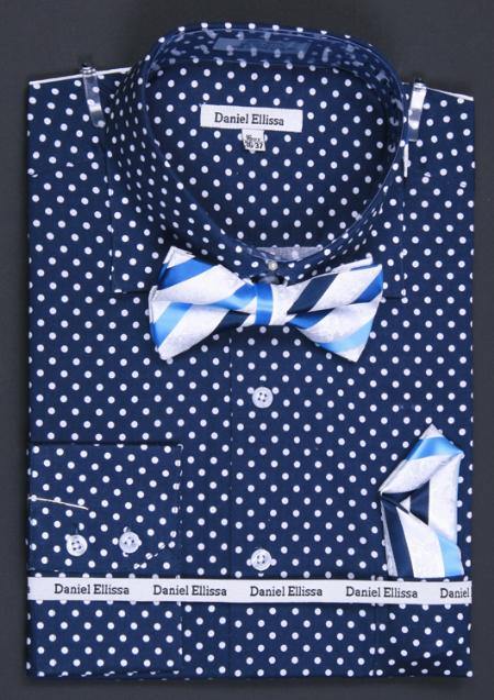 MensUSA.com 100 Cotton Double Button Cuff Dress Shirt Bow Tie and Hanky Polka Dot Navy(Exchange only policy) at Sears.com