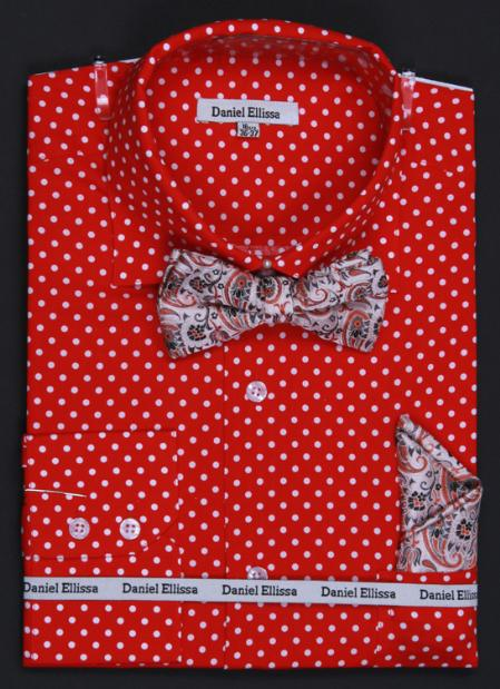 SKU#KA1176 100% Cotton Double Button Cuff Dress Shirt, Bow Tie and Hanky -Polka Dot Red $65
