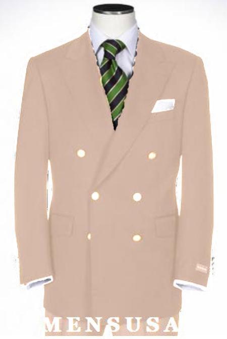 SKU#KA1181 Tan ~ Beige Double Breasted Blazer With Best Cut & Fabric Sport jacket $225