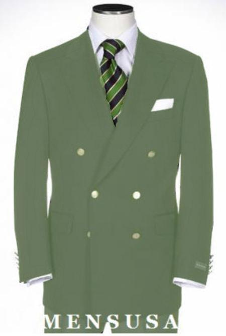SKU#KA1183 Double Breasted Blazer With Best Cut & Fabric Sport Olive Green jacket $199