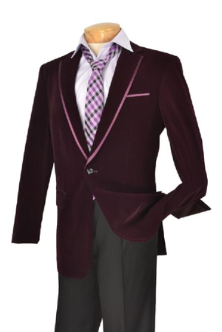 SKU#KA1186 Mens Edition High Fashion Fine Slim Fit velvet Jacket / Blazer / Jacket Purple $139