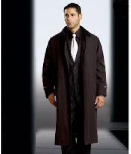 SKU#KA1189 Mens Polyester/Nylon Long Rain Coat-Trench Coat(Snap Off Liner)