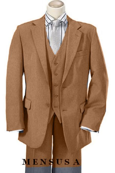 SKU#KA1196 High Quality Camel 2 Button Vested 100% Wool feel poly~rayon Mens Suits Notch lapel Venteed $189