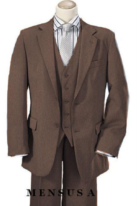 1920s Gangster – How to Dress Like Al Capone 3 Piece 2 Button Suit Wide Leg Pant Wool-feel Bronz Mens Loose Fit Trousers Jacket and Vest $189.00 AT vintagedancer.com