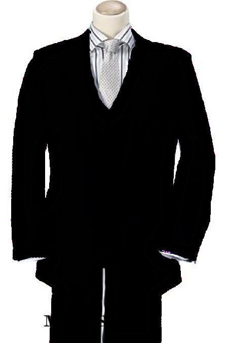 3 Piece 2 Button Suit Wide Leg Pant Wool-feel Black Mens Loose Fit Trousers Jacket And Vest