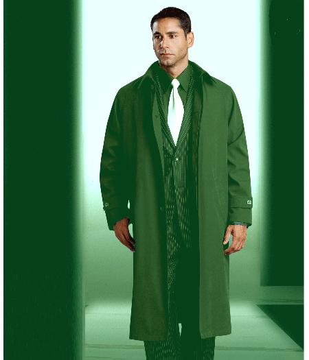 SKU#KA1203 Mens Polyester/Nylon Olive Green Long Rain Coat - Trench Coat (Snap Off Liner) $149
