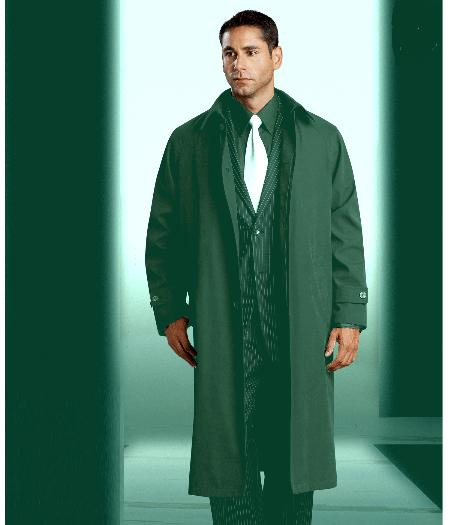 SKU#KA1204 Mens Polyester/Nylon Drak Green Long Rain Coat ~ Trench Coat (Snap Off Liner) $149
