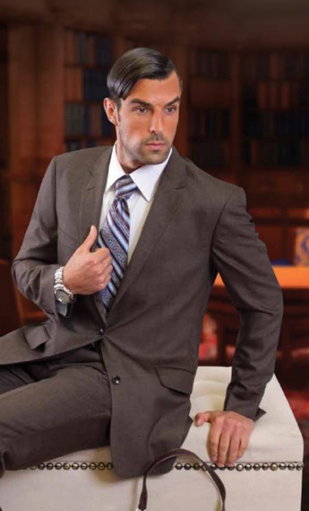 SKU#European Cut Style Jacket & Pants CLASSIC SLIM FIT 2 PIECE 2 BUTTON Light GRAY MENS SUIT Pick Stitched 100% Super 150S Wool