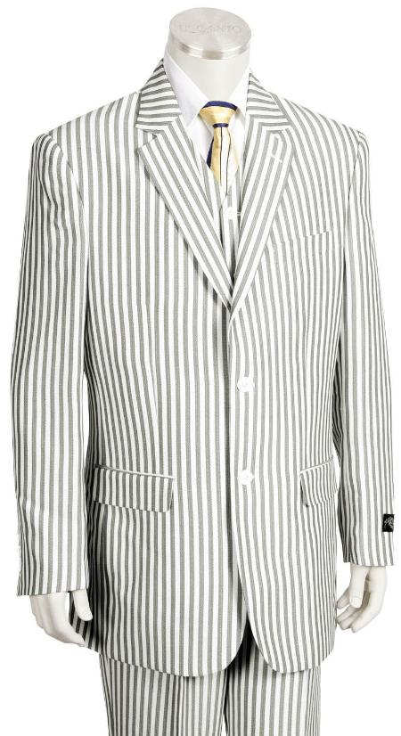 SKU#KA1227 Mens Fashion 3 Piece Seersucker Suit in Soft Poly Rayon $175