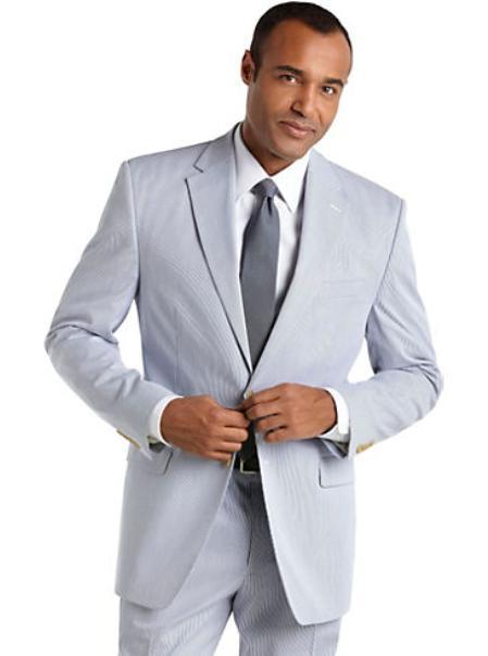 SKU#KA1228 Blue Seersucker Suit Blue Seersucker Suit