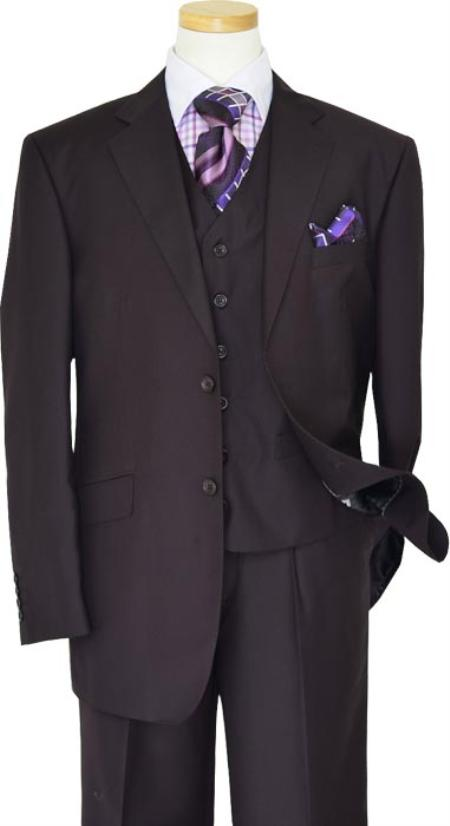 SKU#KA1229 Solid Plum Eggplant Very Dark Purple W Hand-Pick Stitching Super 150S Wool Vested Suit