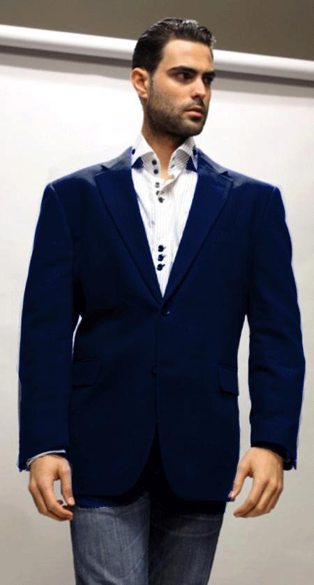 SKU#KA1233 Royal Sport Coat Its One of a Kind Super 150s For All Occasion Drak Blue Fabric $139