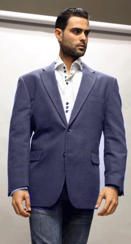 SKU#KA1234 Navy Blue Sport Coat Its One of a Kind Super 150s For All Occasion Navy Blue Fabric