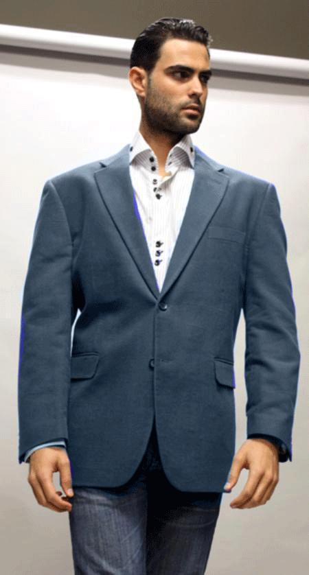 SKU#KA1235  Navy Blue Sport Coat Its One of a Kind Super 150s For All Occasion Teal Blue Fabric $139