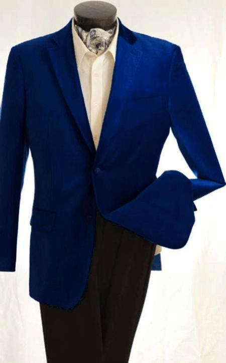 SKU#KA1236 Mens Fashion 2 Button Velvet Jacket Royal $125