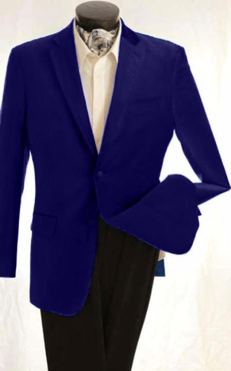 SKU#KA1237 Mens Fashion 2 Button Velvet Jacket Royal $125