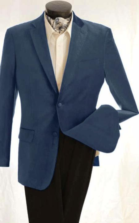 SKU#KA1239 Mens Fashion 2 Button Velvet Jacket Teal Blue $125