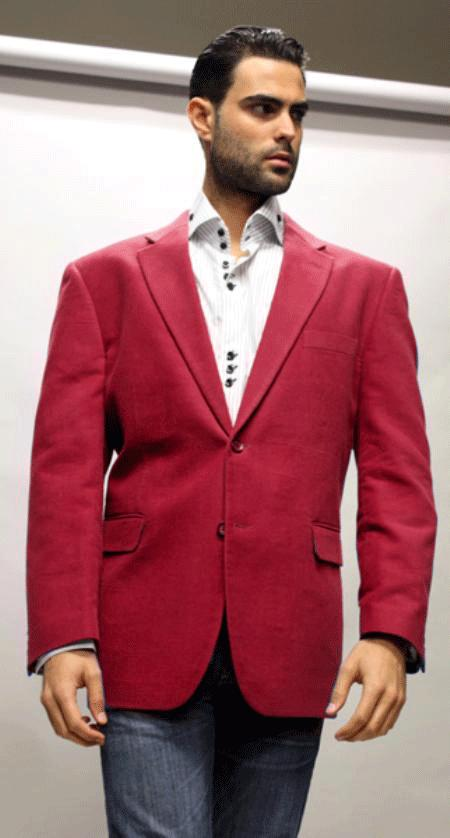 SKU#KA1240  Sport Coat Its One of a Kind Super 150s For All Occasion Red Velvet Fabric $139