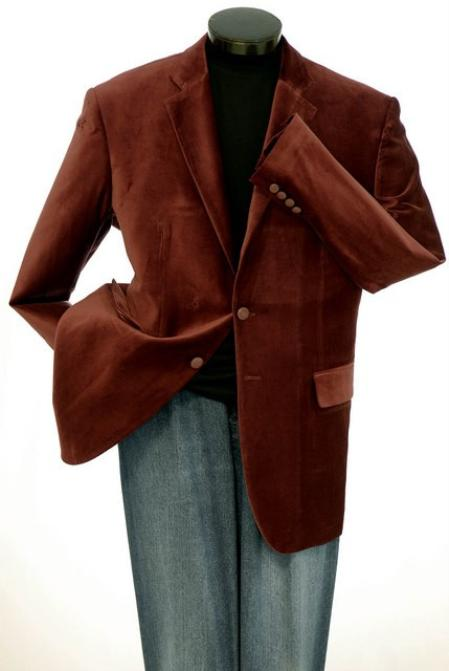 SKU#KA1242  2 Button Mens Brown Velvet Blazer $139